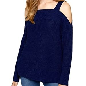 Navy High-Low Cold-Shoulder Sweater NWT S